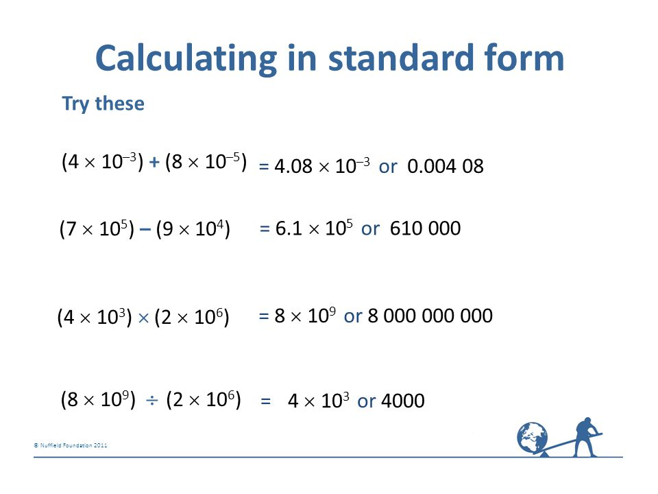 Calculating in standard form