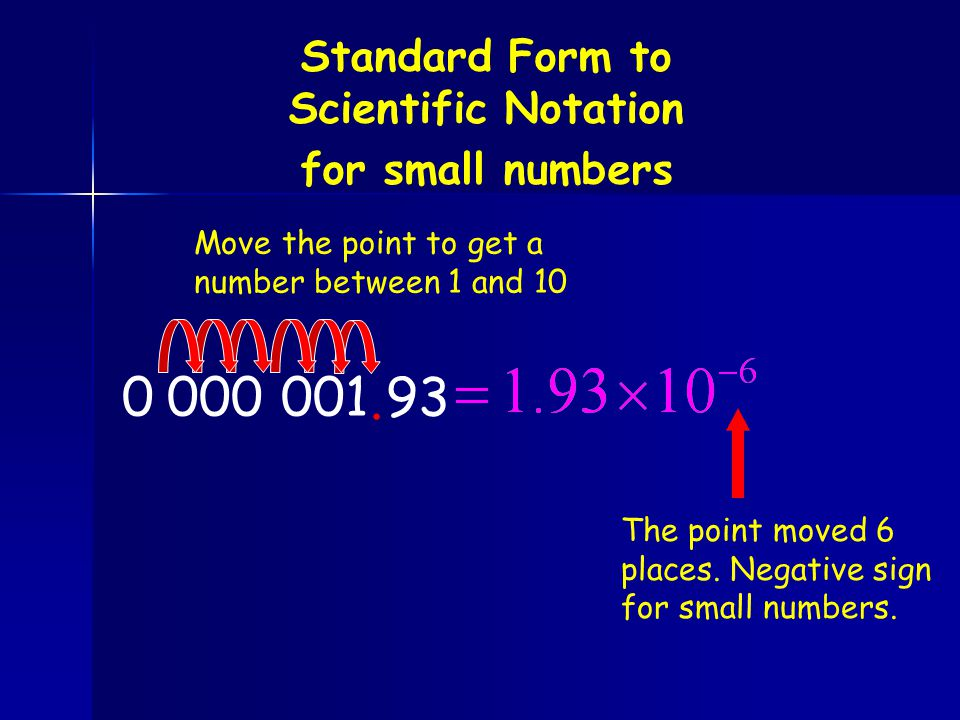 Standard Form to Scientific Notation