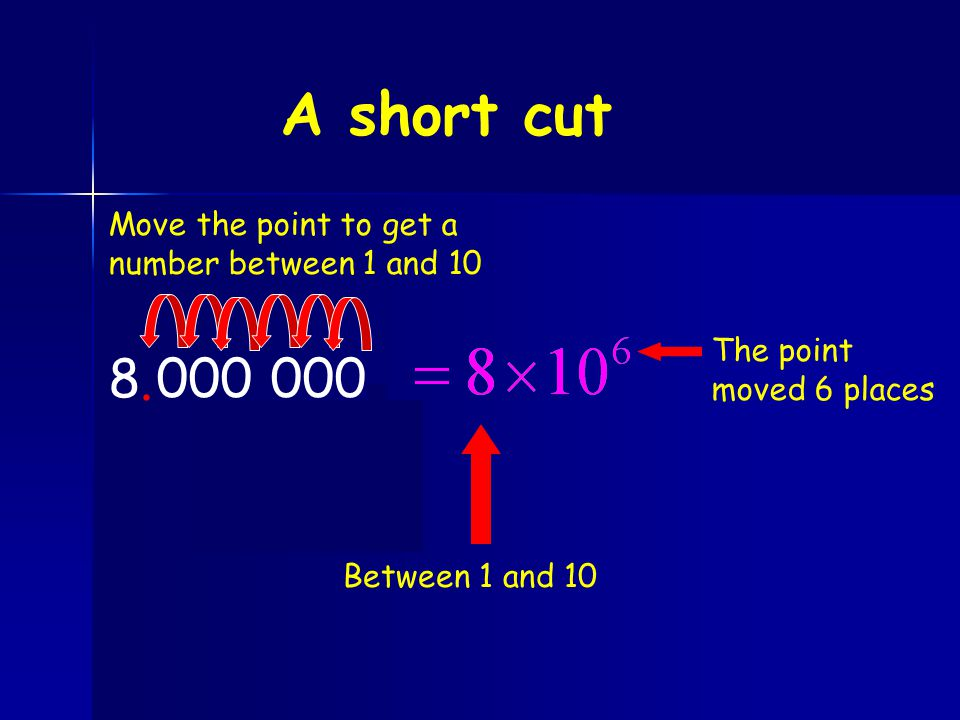 A short cut 8 000 000 . . Move the point to get a