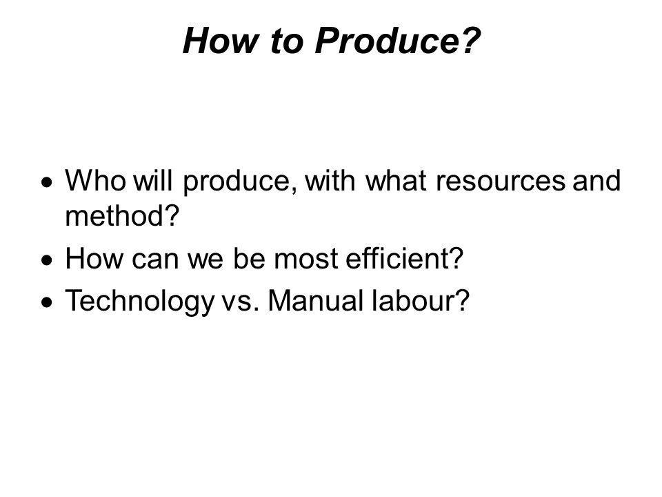 How to Produce Who will produce, with what resources and method