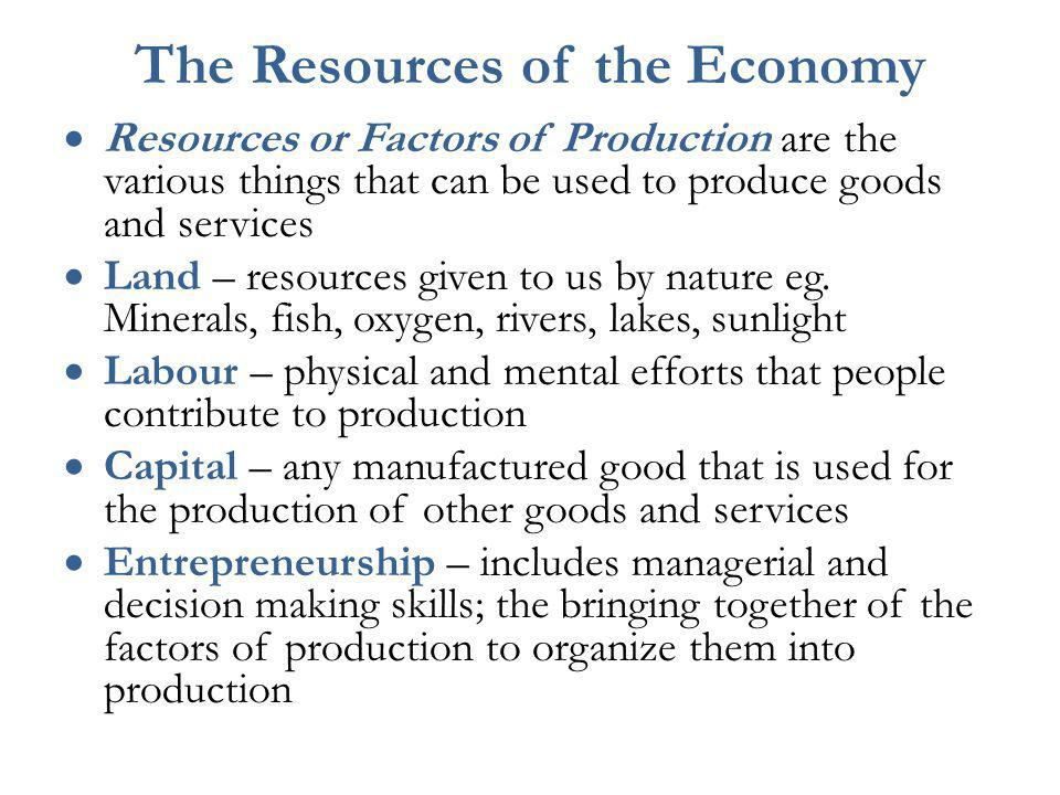 The Resources of the Economy
