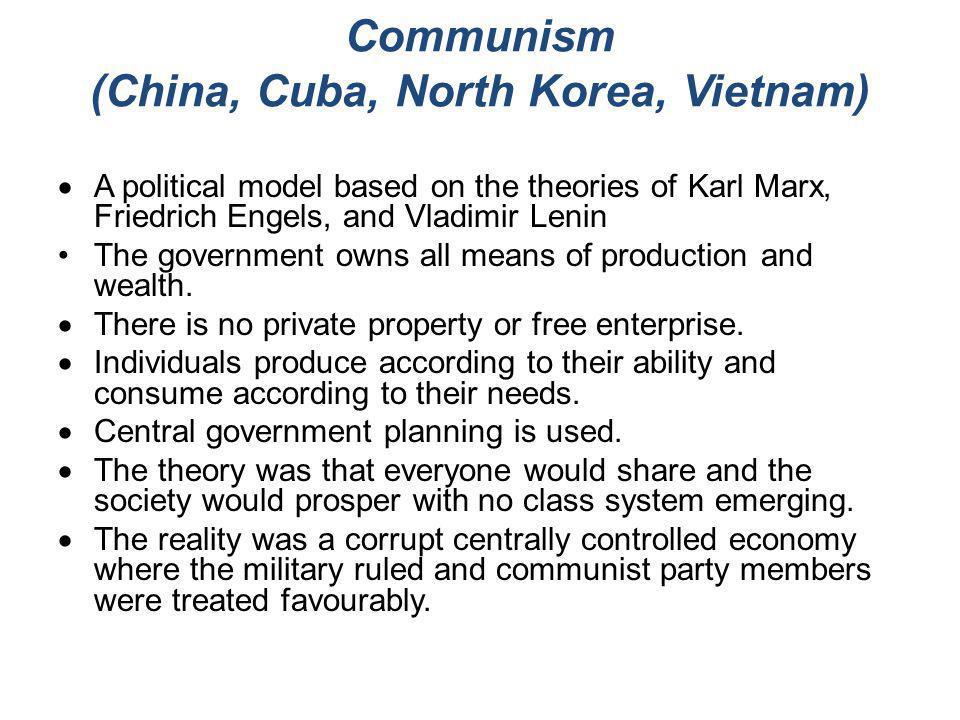 Communism (China, Cuba, North Korea, Vietnam)