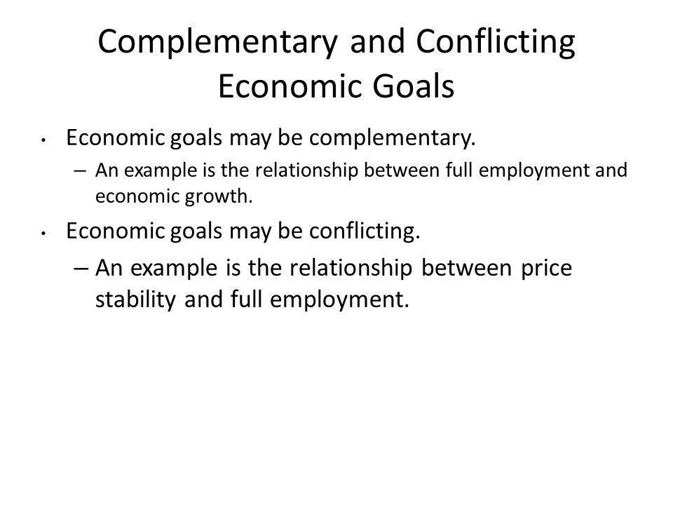 Complementary and Conflicting Economic Goals