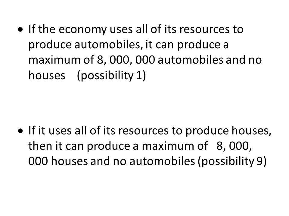 If the economy uses all of its resources to produce automobiles, it can produce a maximum of 8, 000, 000 automobiles and no houses (possibility 1)