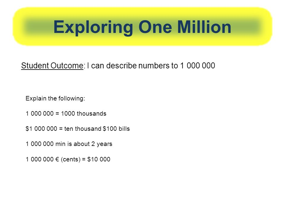 Exploring One Million Student Outcome: I can describe numbers to Explain the following: