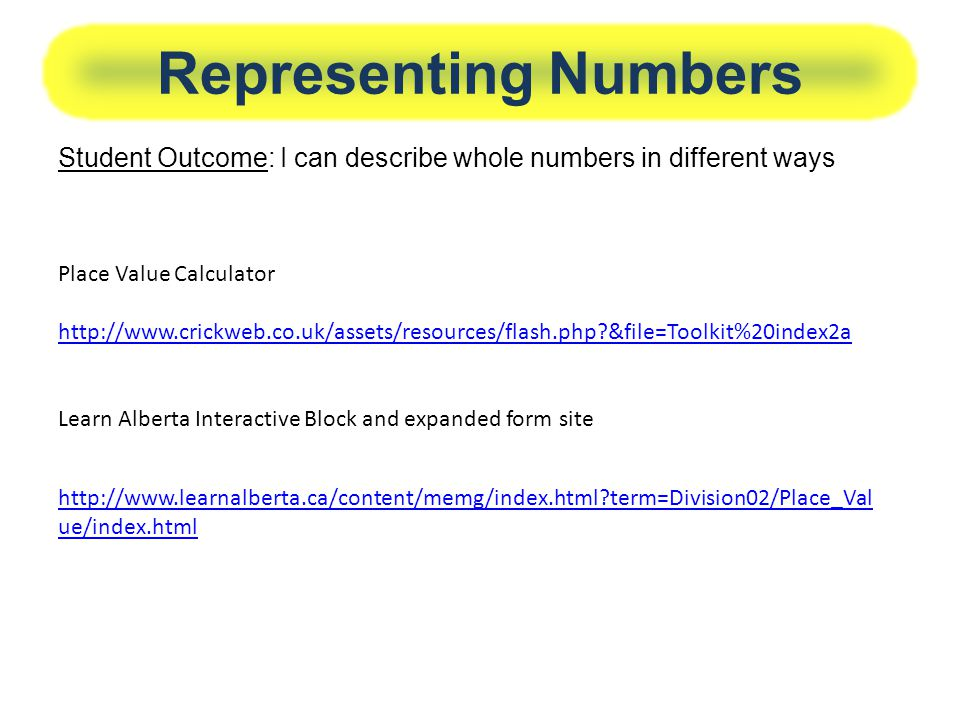 Representing Numbers Student Outcome: I can describe whole numbers in different ways. Place Value Calculator.