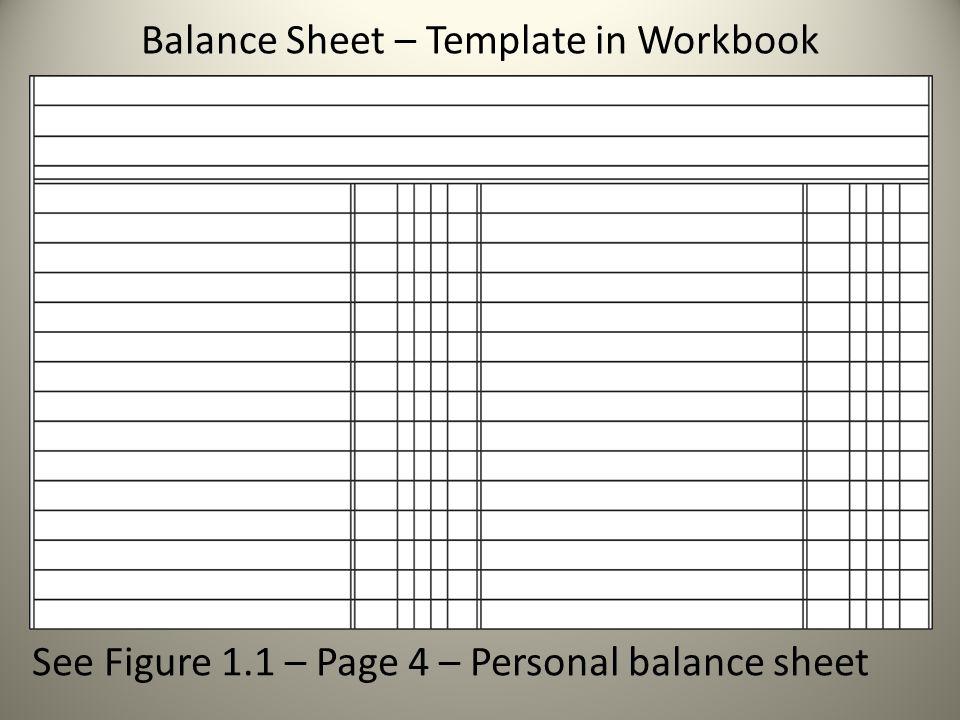 Balance Sheet – Template in Workbook