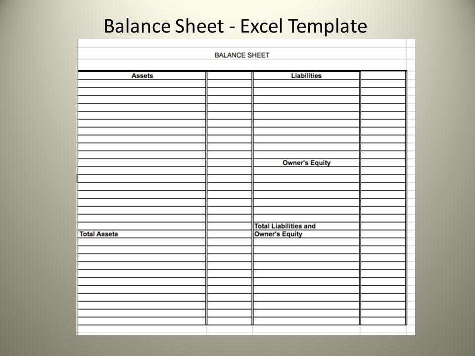 Balance Sheet - Excel Template