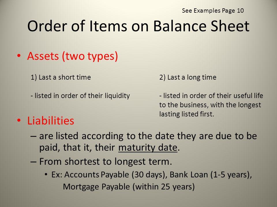 Order of Items on Balance Sheet