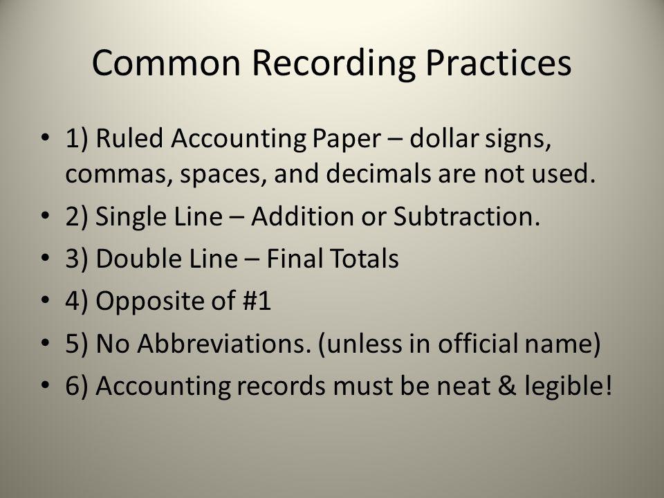 Common Recording Practices