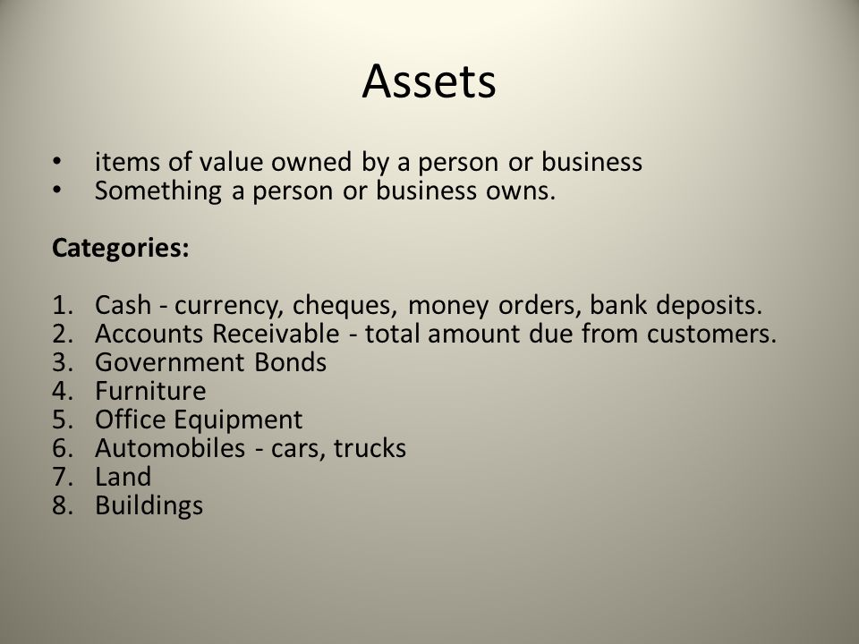 Assets items of value owned by a person or business