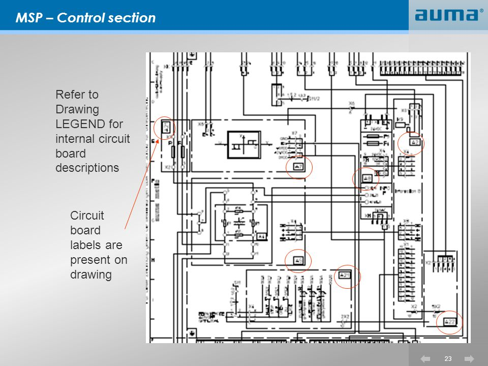 MSP – Control section Refer to Drawing LEGEND for internal circuit board descriptions.