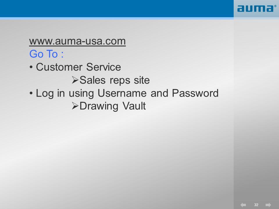 www.auma-usa.com Go To : Customer Service. Sales reps site.