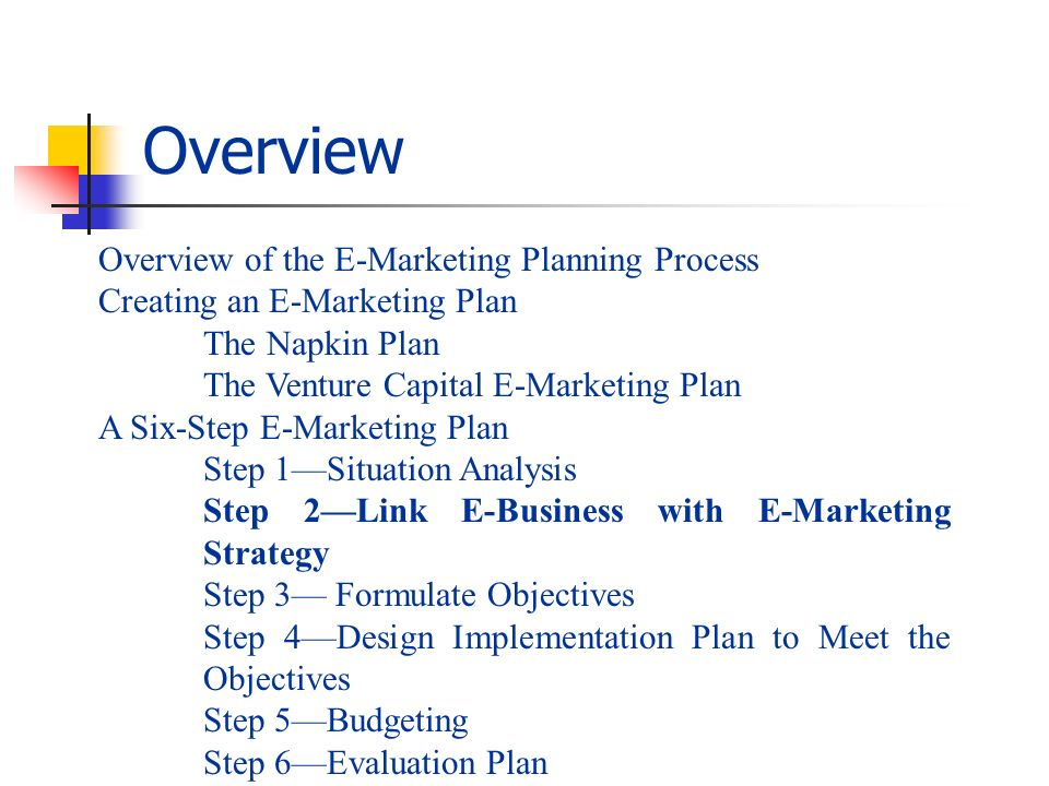 Overview Overview of the E-Marketing Planning Process