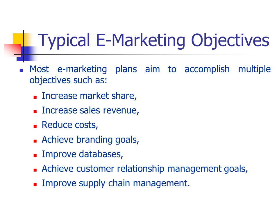 Typical E-Marketing Objectives