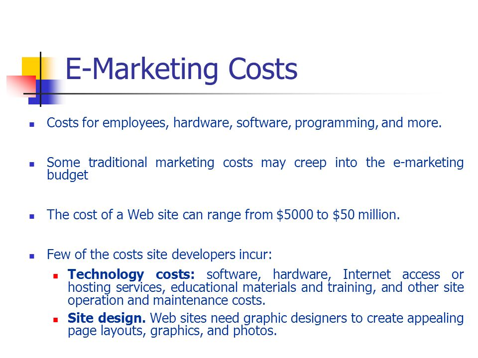 E-Marketing Costs Costs for employees, hardware, software, programming, and more.