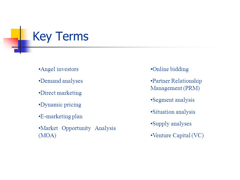 Key Terms Angel investors Demand analyses Direct marketing