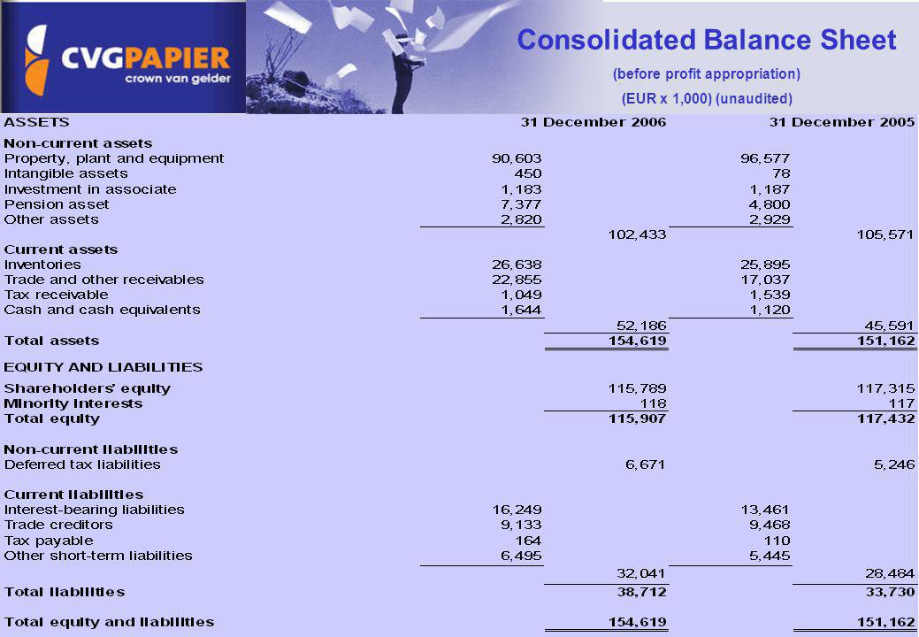 Consolidated Balance Sheet (before profit appropriation)