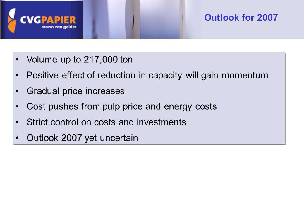 Outlook for 2007 Volume up to 217,000 ton. Positive effect of reduction in capacity will gain momentum.