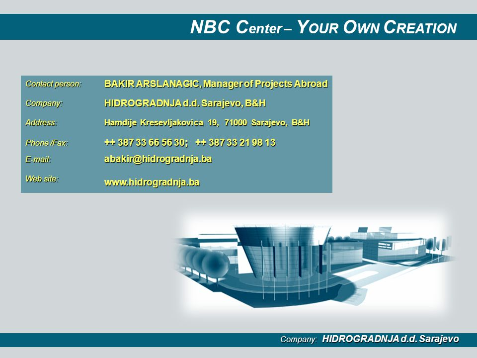 NBC Center – YOUR OWN CREATION