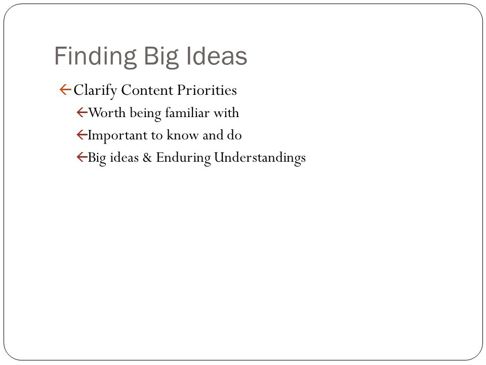 Finding Big Ideas Clarify Content Priorities Worth being familiar with
