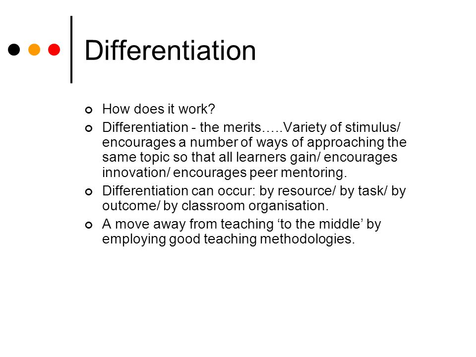 Differentiation How does it work