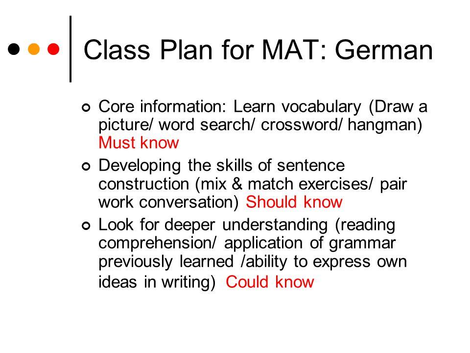 Class Plan for MAT: German