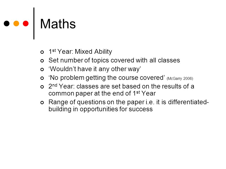 Maths 1st Year: Mixed Ability