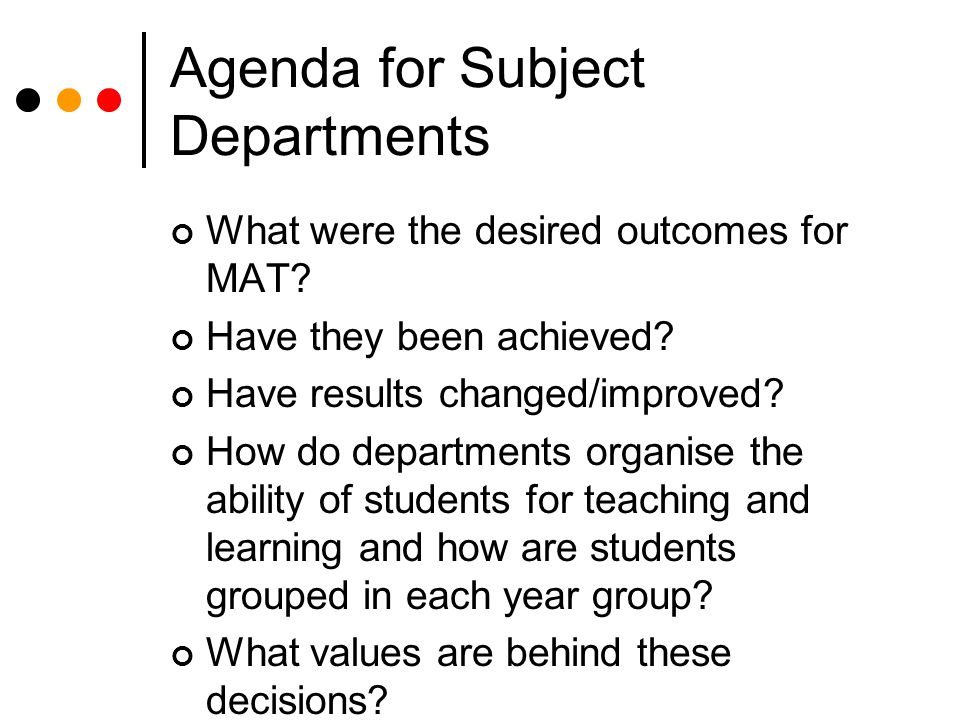 Agenda for Subject Departments