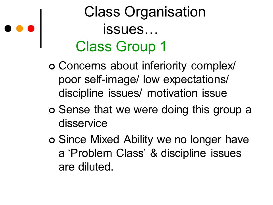Class Organisation issues… Class Group 1