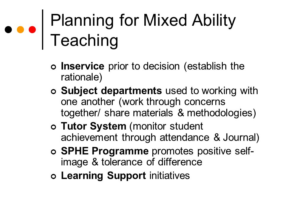 Planning for Mixed Ability Teaching