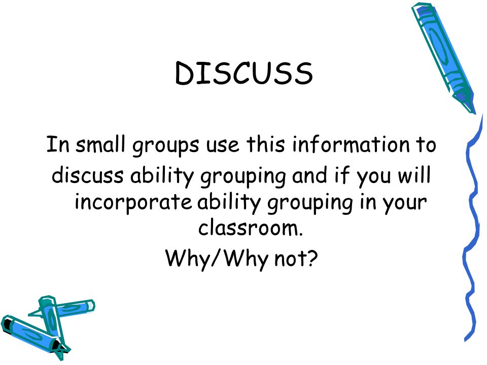 In small groups use this information to