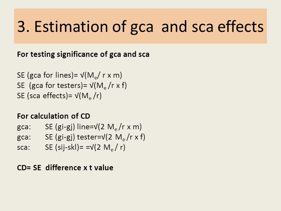 3. Estimation of gca and sca effects