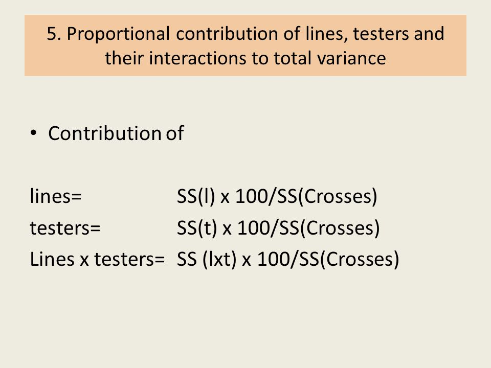 lines= SS(l) x 100/SS(Crosses) testers= SS(t) x 100/SS(Crosses)