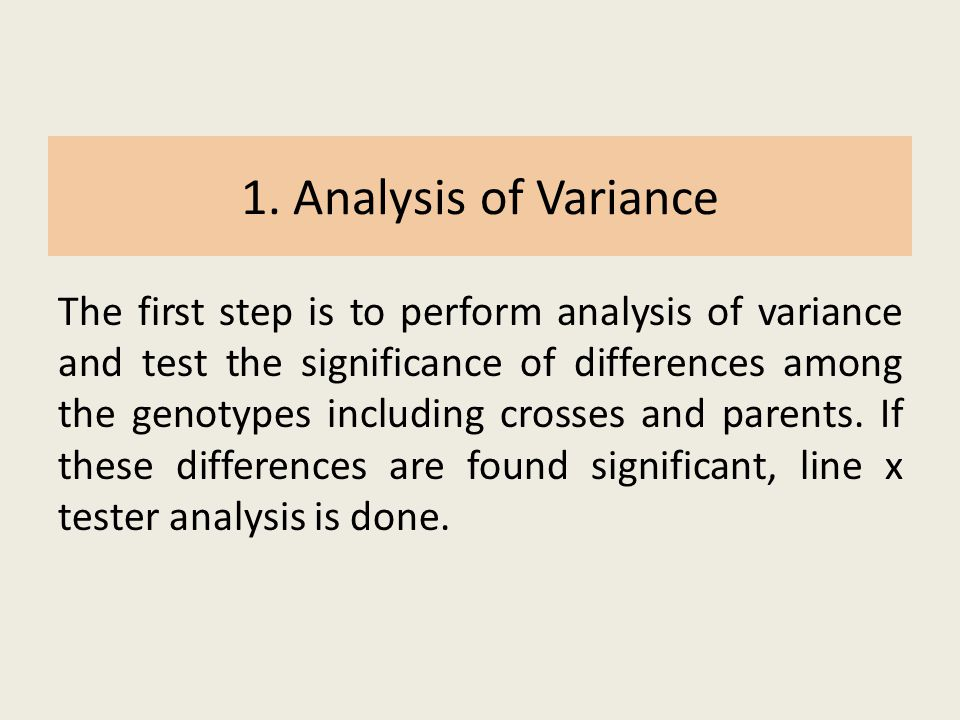 1. Analysis of Variance