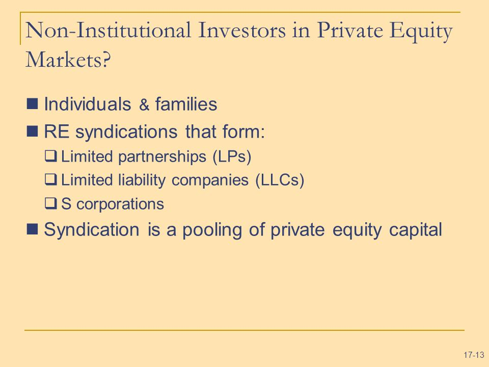Non-Institutional Investors in Private Equity Markets