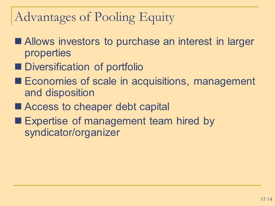 Advantages of Pooling Equity