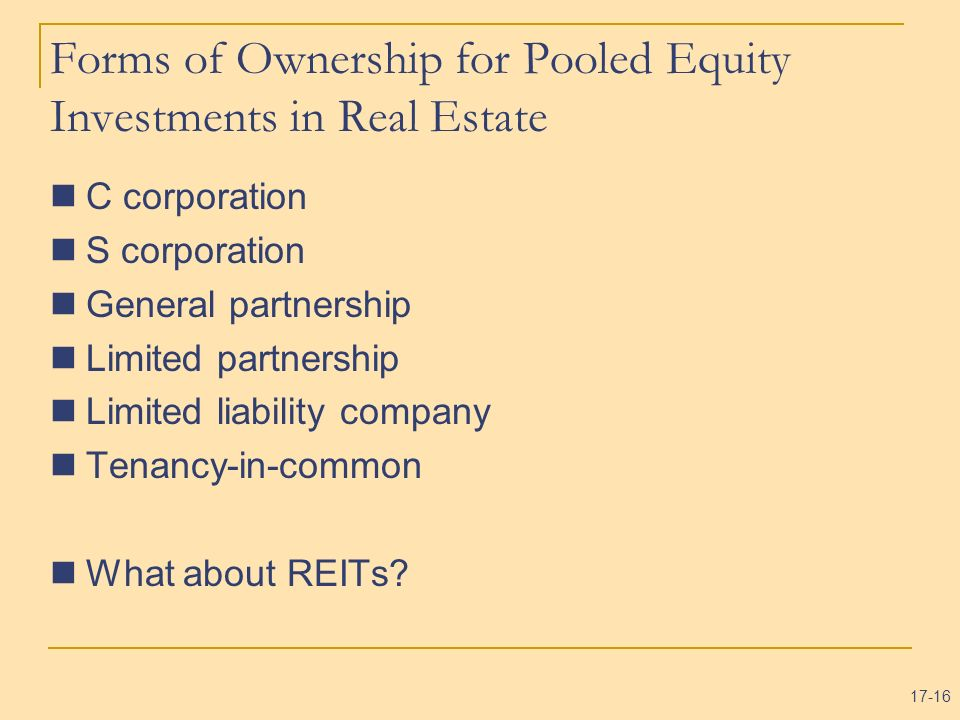 Forms of Ownership for Pooled Equity Investments in Real Estate