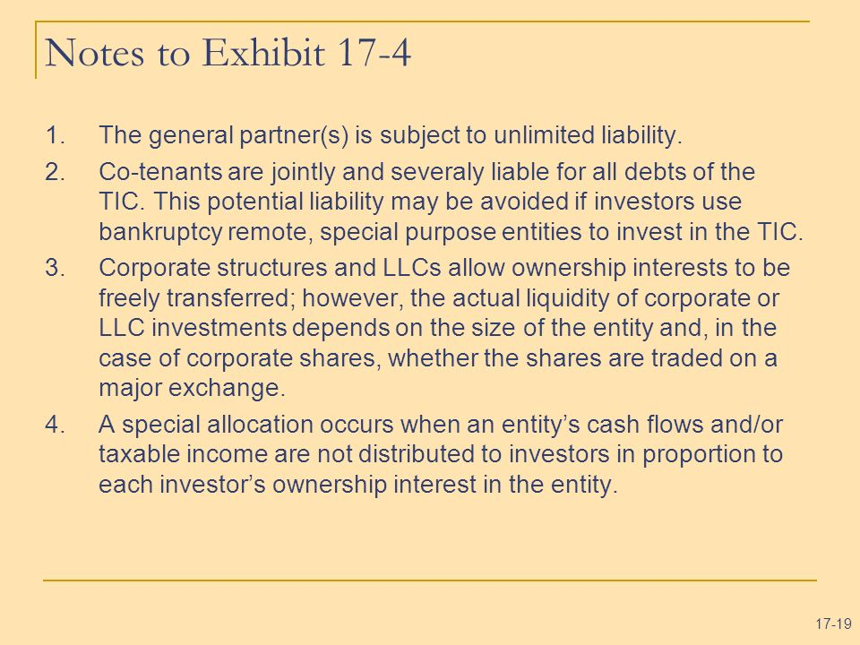 Notes to Exhibit 17-4 The general partner(s) is subject to unlimited liability.
