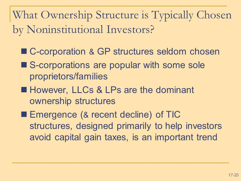 What Ownership Structure is Typically Chosen by Noninstitutional Investors