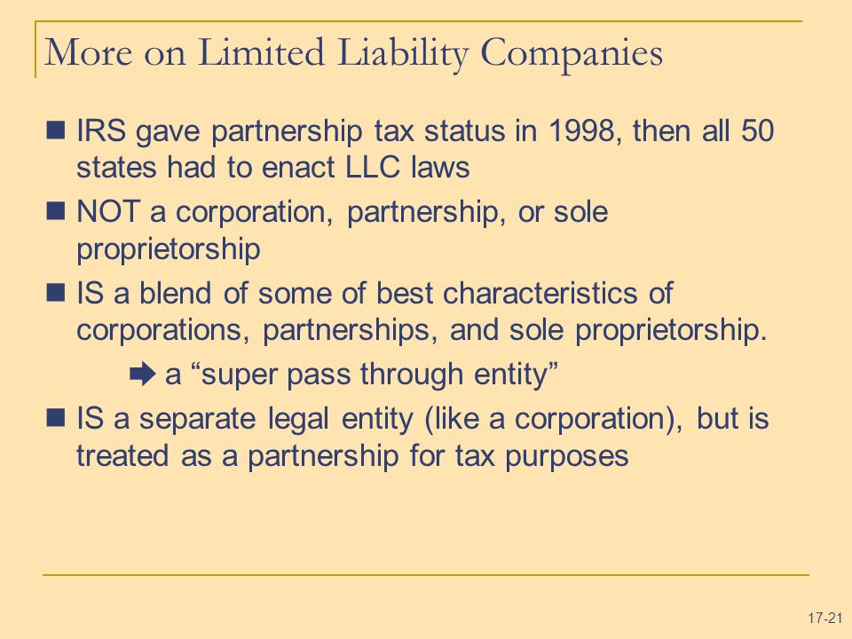 More on Limited Liability Companies