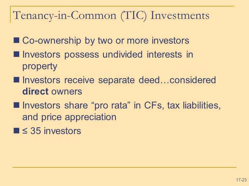 Tenancy-in-Common (TIC) Investments