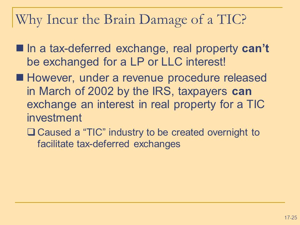 Why Incur the Brain Damage of a TIC