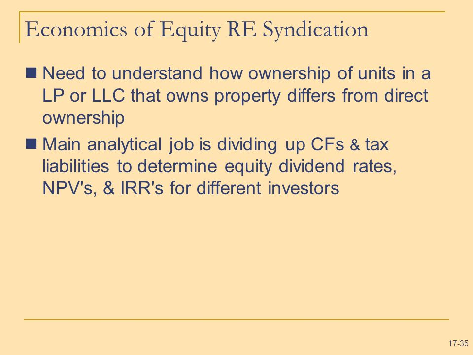 Economics of Equity RE Syndication