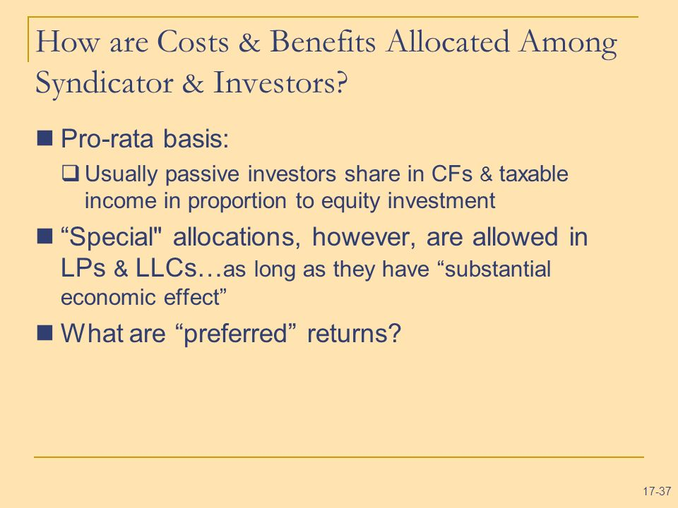 How are Costs & Benefits Allocated Among Syndicator & Investors