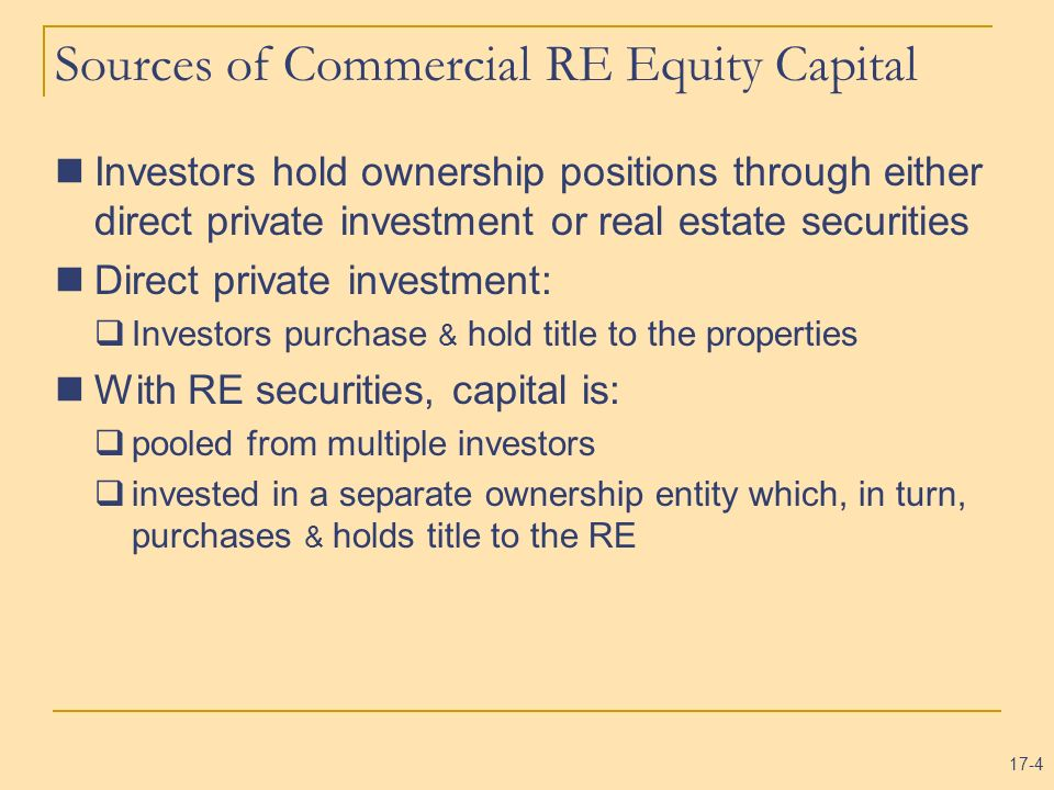 Sources of Commercial RE Equity Capital