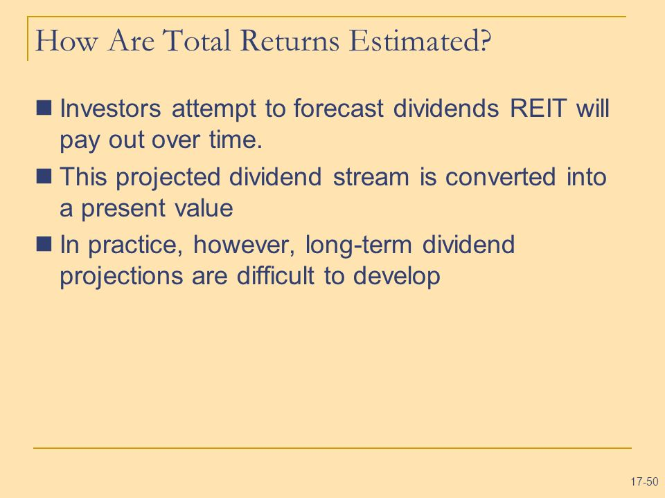 How Are Total Returns Estimated