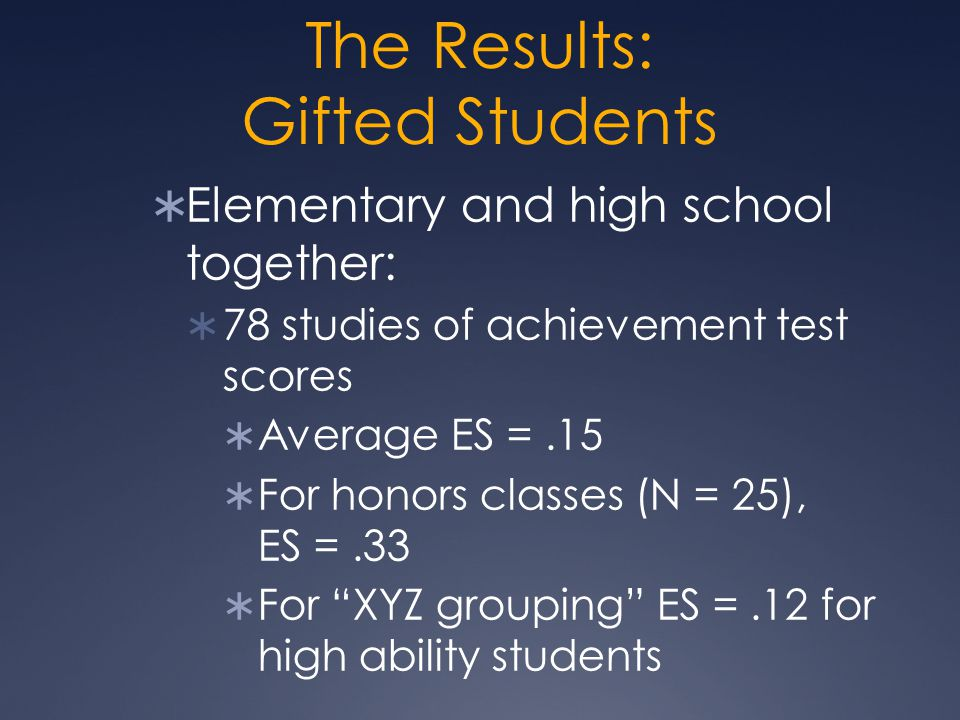 The Results: Gifted Students