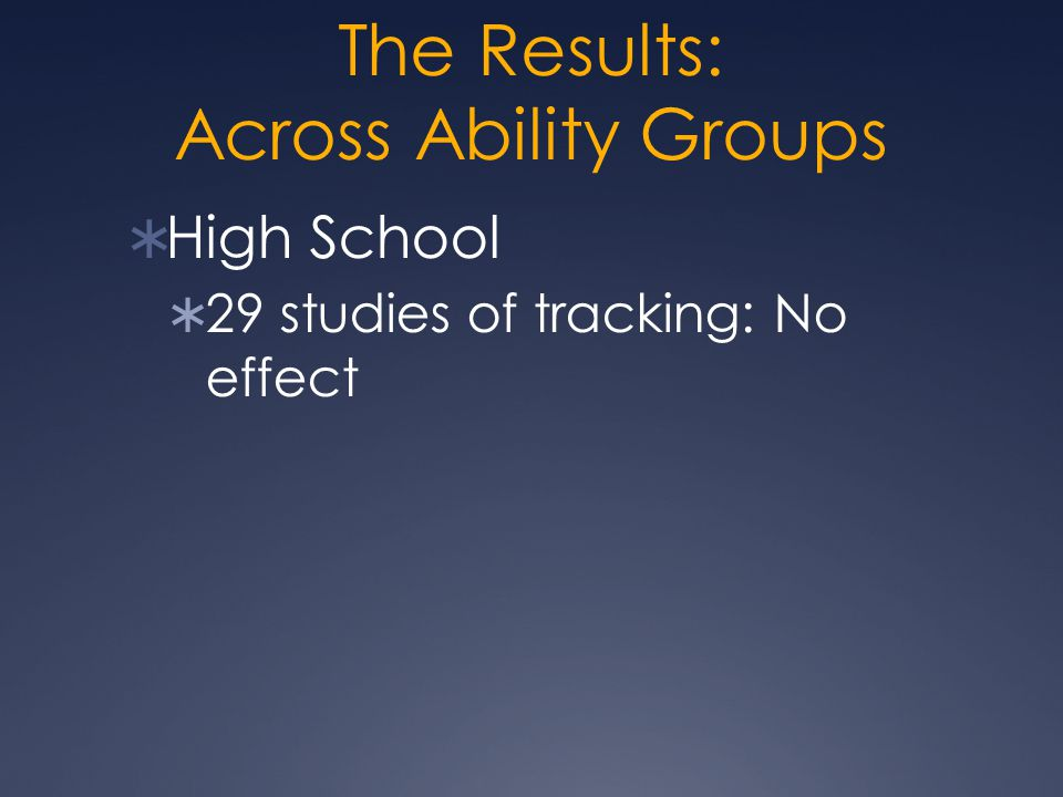 The Results: Across Ability Groups