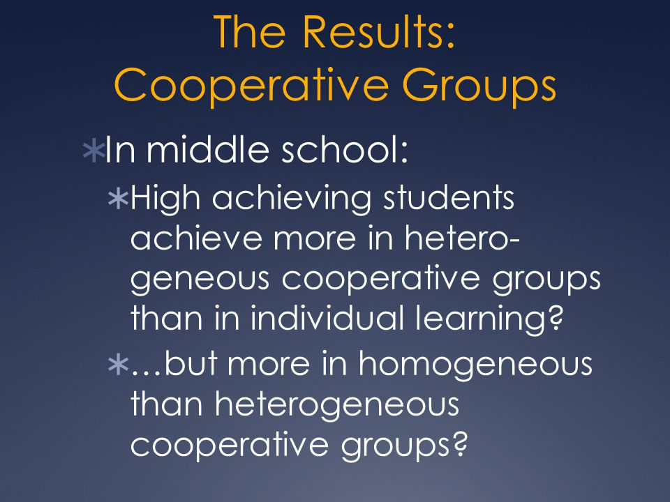 The Results: Cooperative Groups